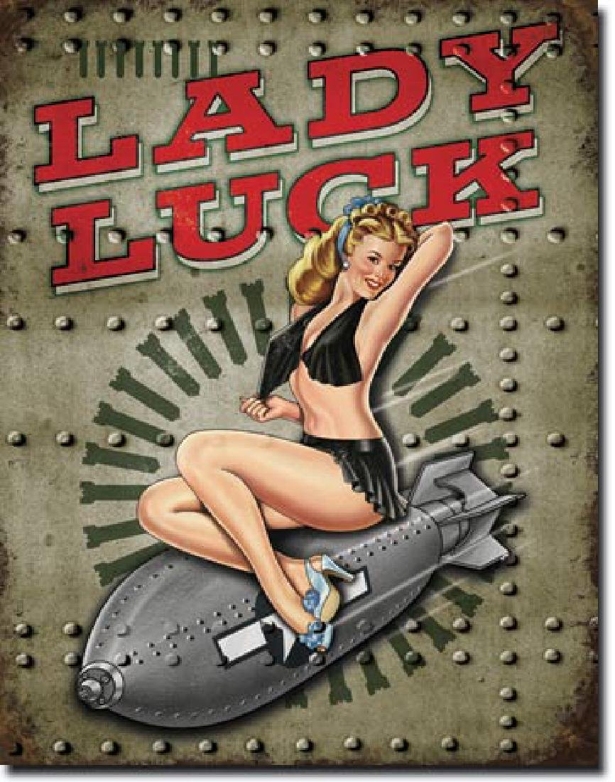 "LADY LUCK METAL SIGN 12.5"" X 16"""