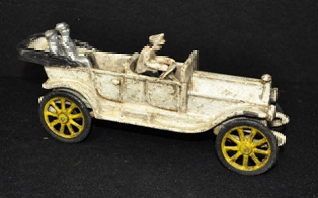 OLD WHITE CAST IRON TOURING CAR TOY
