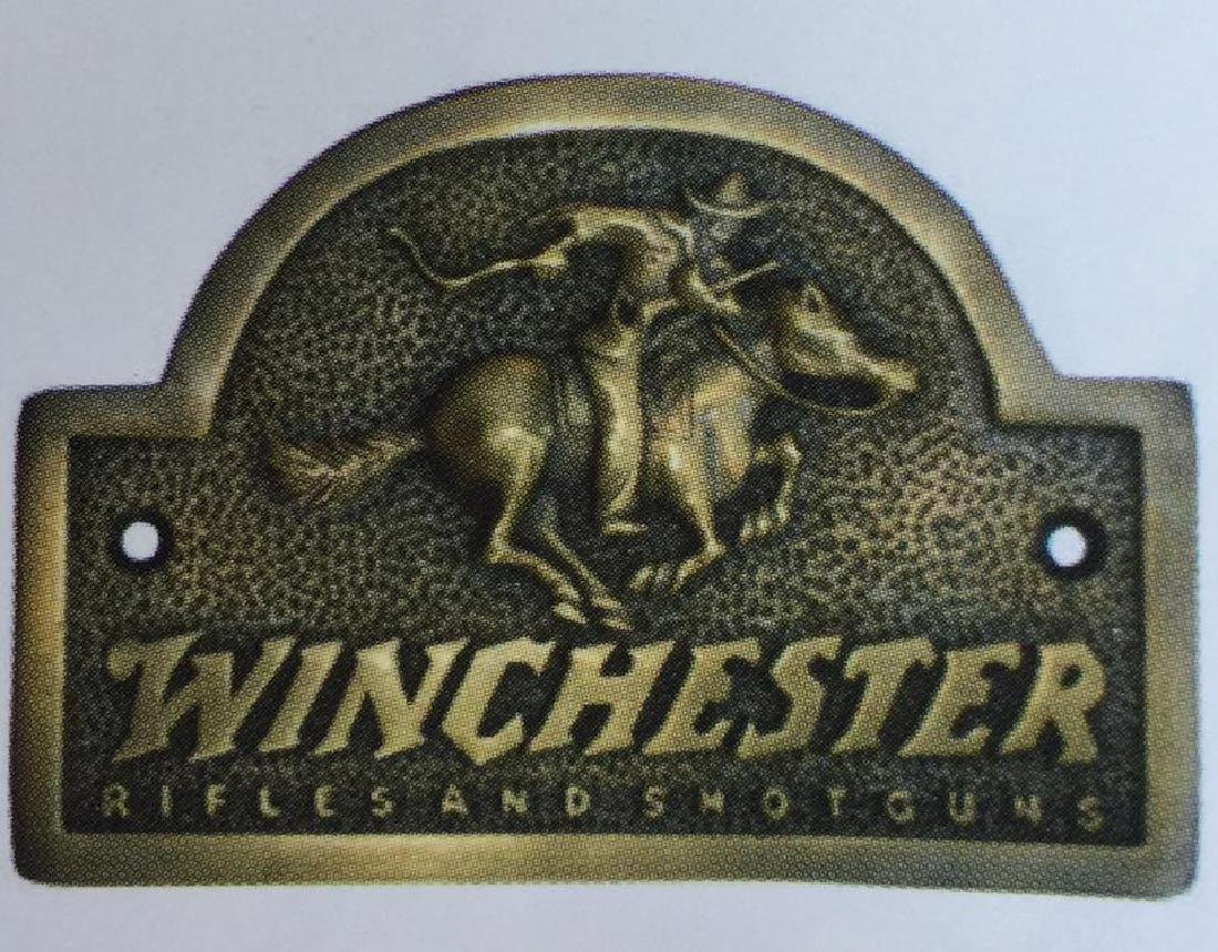 "WINCHESTER SOLID BRASS RIDER PLAQUE - 3"" X 5"""