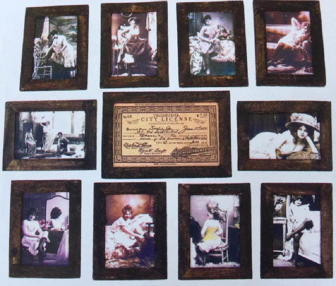 SET OF 11 SOILED DOVES FRAMED BROTHEL PHOTOS AND