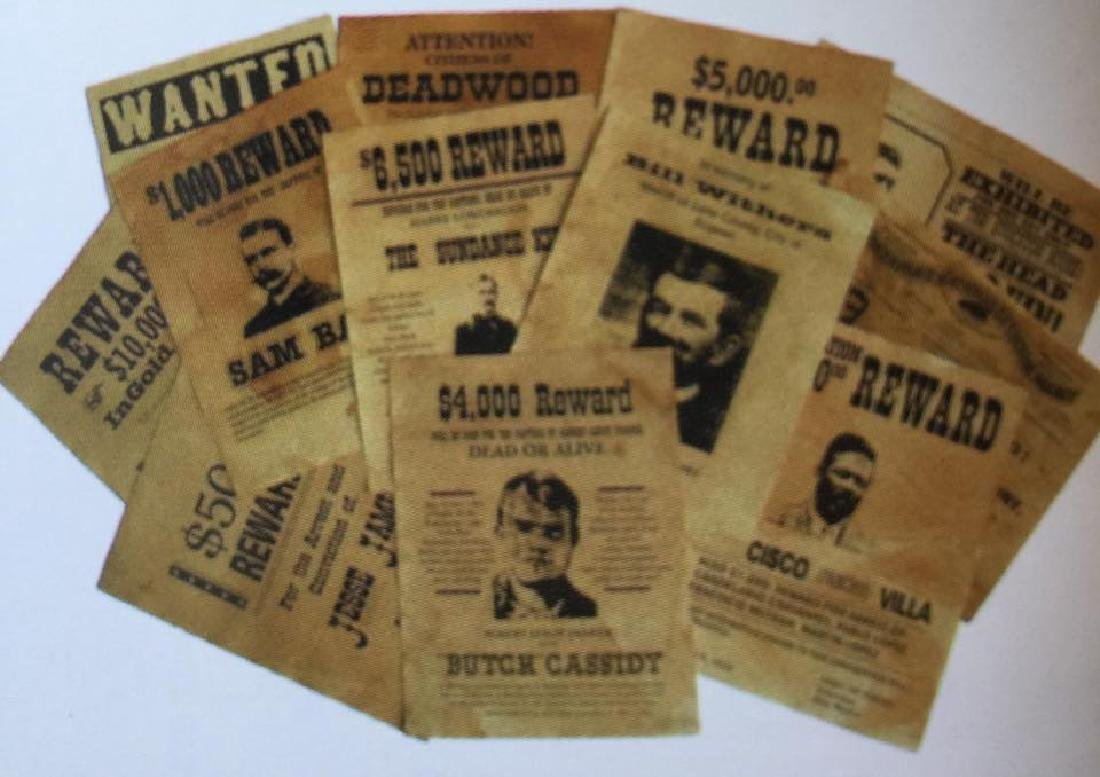 LOT OF 12 OLD WEST WANTED / REWARD POSTERS
