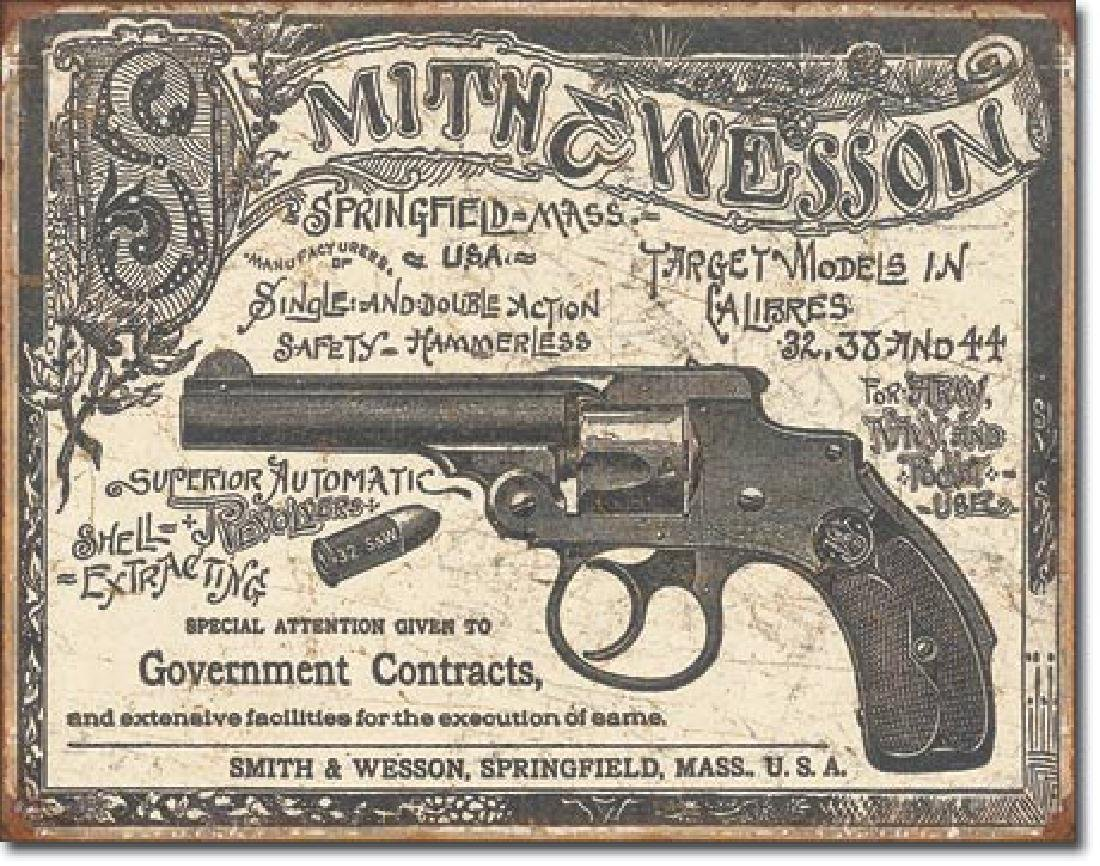 """SMITH AND WESSON METAL SIGN 12.5"""" X 16"""""""