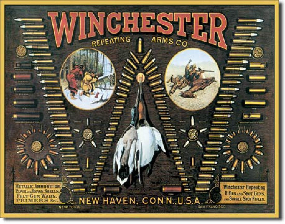 "WINCHESTER METAL SIGN 12.5"" X 16"""