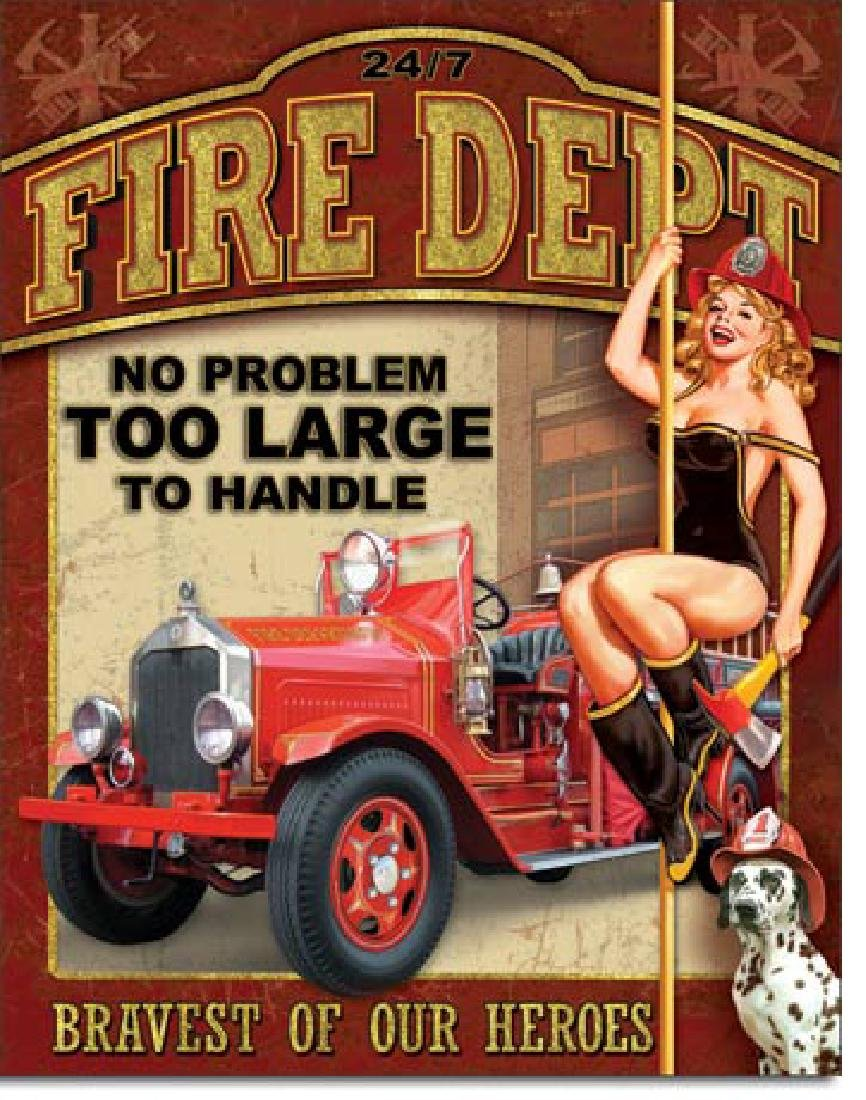 "FIRE DEPT METAL SIGN 12.5"" X 16"""
