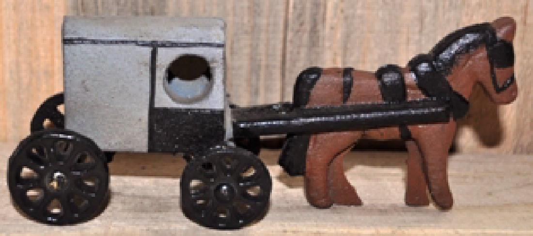 CAST IRON HORSE AND WAGON TOY
