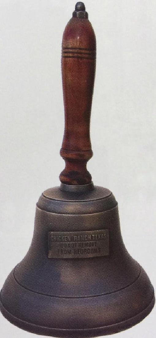 "CHICKEN RANCH BRASS AND WOODEN HAND BELL - 9"" TALL"