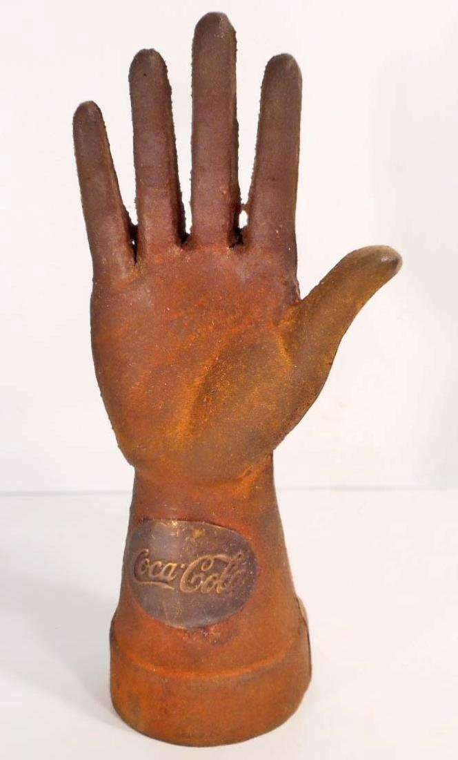COCA COLA COUNTER TOP CAST IRON HAND DISPLAY - 8.75""