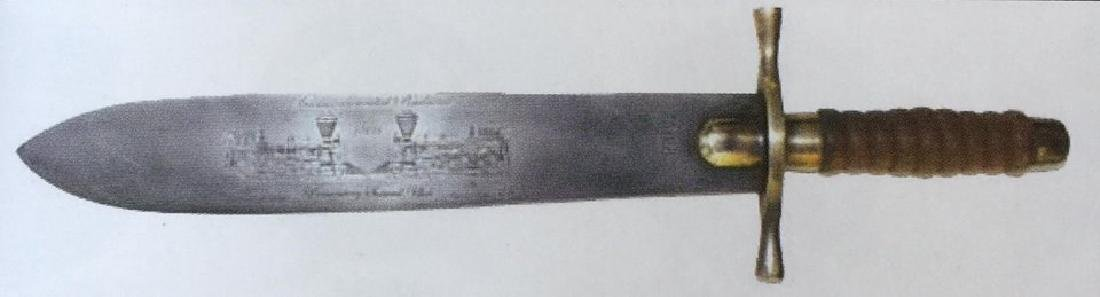 "TRANSCONTINENTAL RAILROAD TRAIN BOWIE KNIFE - 17.25"""