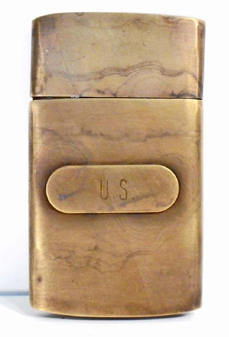 """US UNION ARMY CIVIL WAR SOLID BRASS MAP CASE 2"""" X 4"""""""