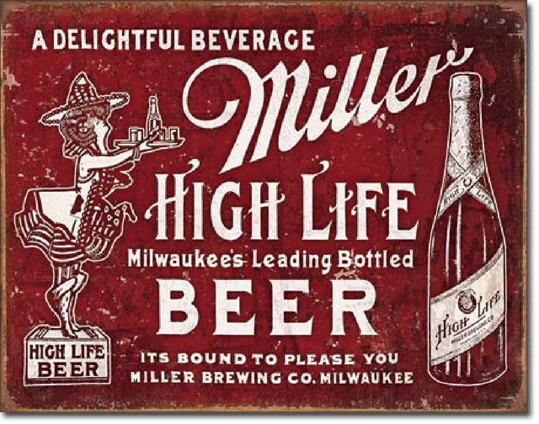 """MILLER BEER METAL SIGN 12.5"""" X 16"""""""