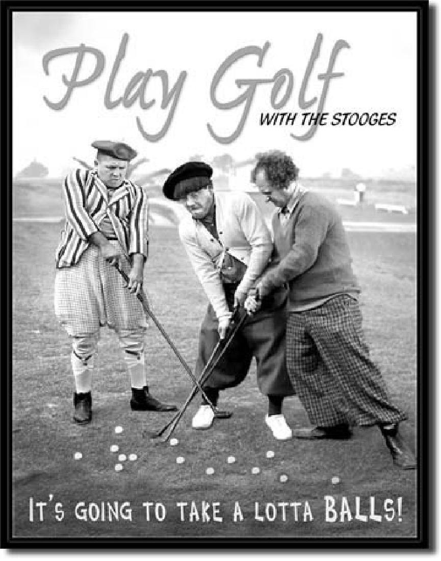 "THREE STOOGES GOLF METAL SIGN 12.5"" X 16"""