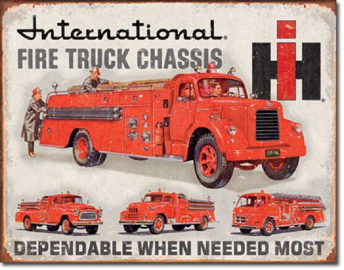 "INTERNATIONAL HARVESTER FIRE TRUCKS METAL SIGN 12.5"" X"