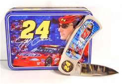 VINTAGE NASCAR JEFF GORDON POCKET KNIFE IN ORIG. TIN