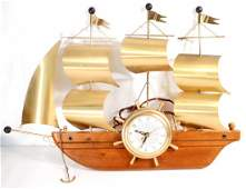 VINTAGE UNITED PIRATE SHIP WALL CLOCK