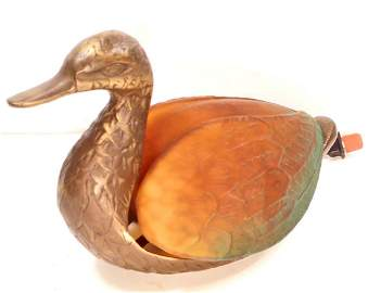 METAL AND GLASS DUCK ELECTRIC LAMP LIGHT