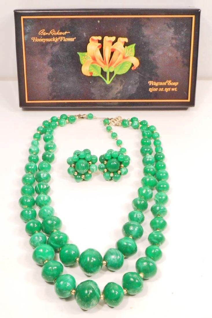 VINTAGE HONG KONG COSTUME JEWELRY NECKLACE AND EARRINGS