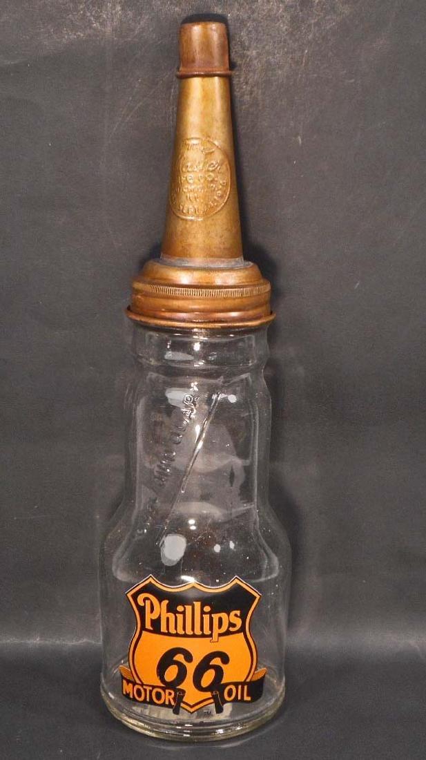 PHILLIPS 66 GLASS OIL BOTTLE W/ SPOUT