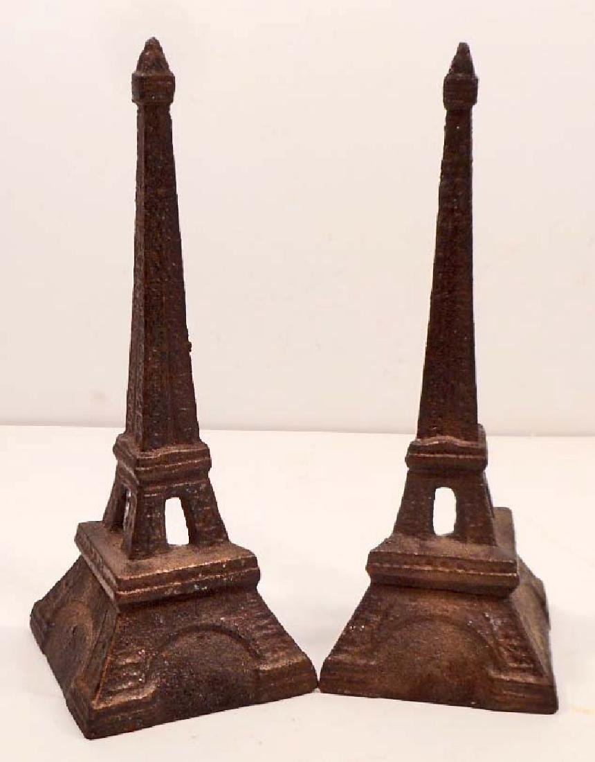 PAIR OF CAST IRON EIFFEL TOWER BOOKENDS