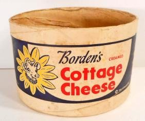 VINTAGE BORDENS COTTAGE CHEESE ADVERTISING CONTAINER