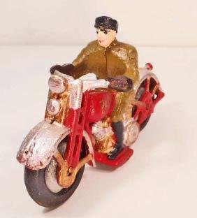 CAST IRON PATROL POLICEMAN ON MOTORCYCLE TOY