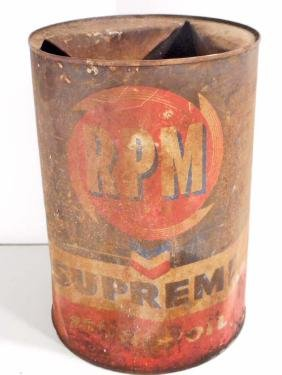 VINTAGE CHEVRON RPM SUPREME MOTOR OIL ADVERTISING CAN