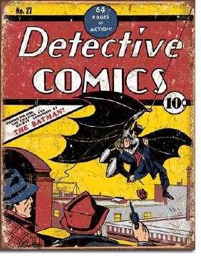 "DETECTIVE COMICS METAL SIGN 12.5"" X 16"""