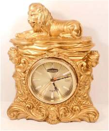 AWESOME ORNATE LION AND NUDE WOMEN MANTLE CLOCK