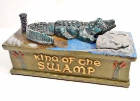 CAST IRON KING OF THE SWAMP MECHANICAL BANK