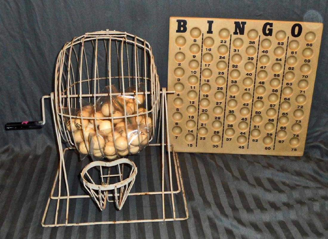 VINTAGE BINGO CAGE SPINNER BALL W/ BALL HOLDER