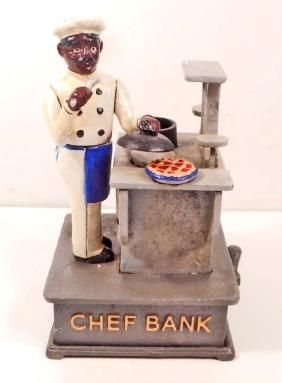 CAST IRON BLACK AMERICANA CHEF MECHANICAL BANK