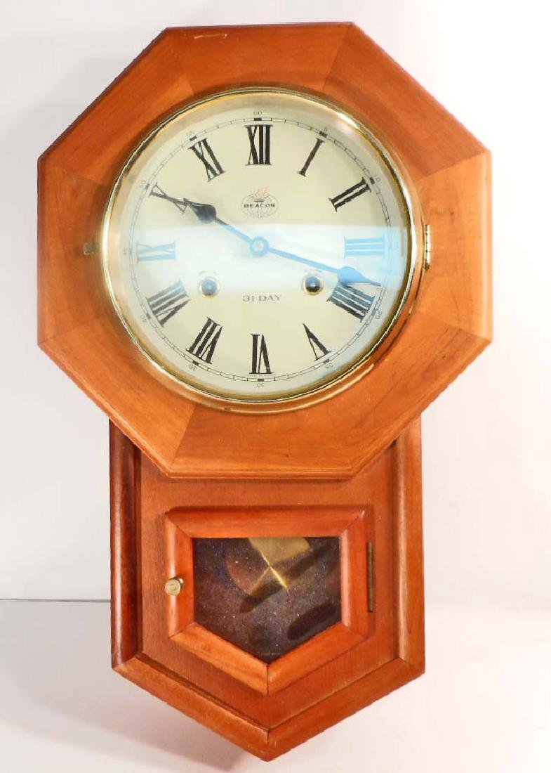 Beacon 31 day wall clock w key pendulum vintage beacon 31 day wall clock w key pendulum amipublicfo Image collections