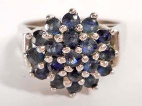 STERLING SILVER SAPPHIRE RING - SIZE 5