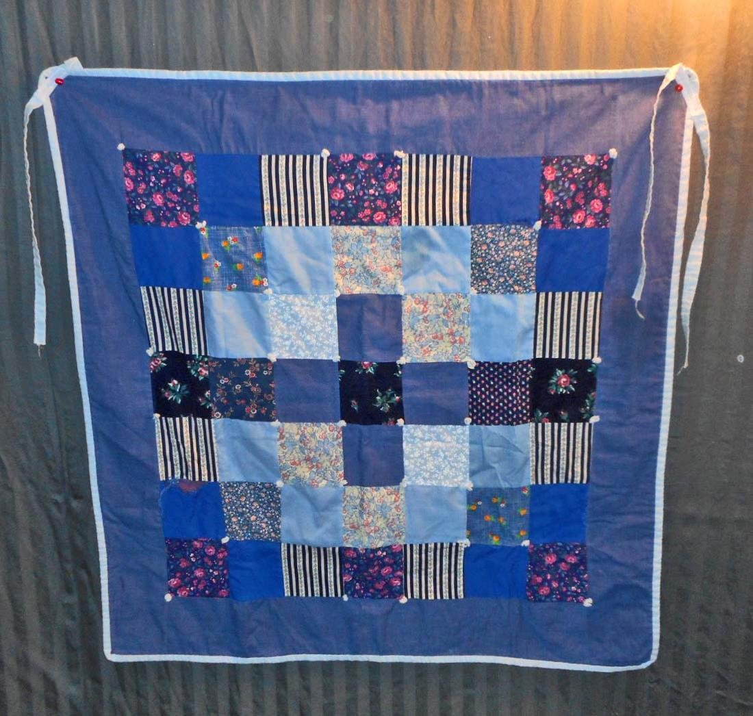 VINTAGE HAND TIED BABY QUILT