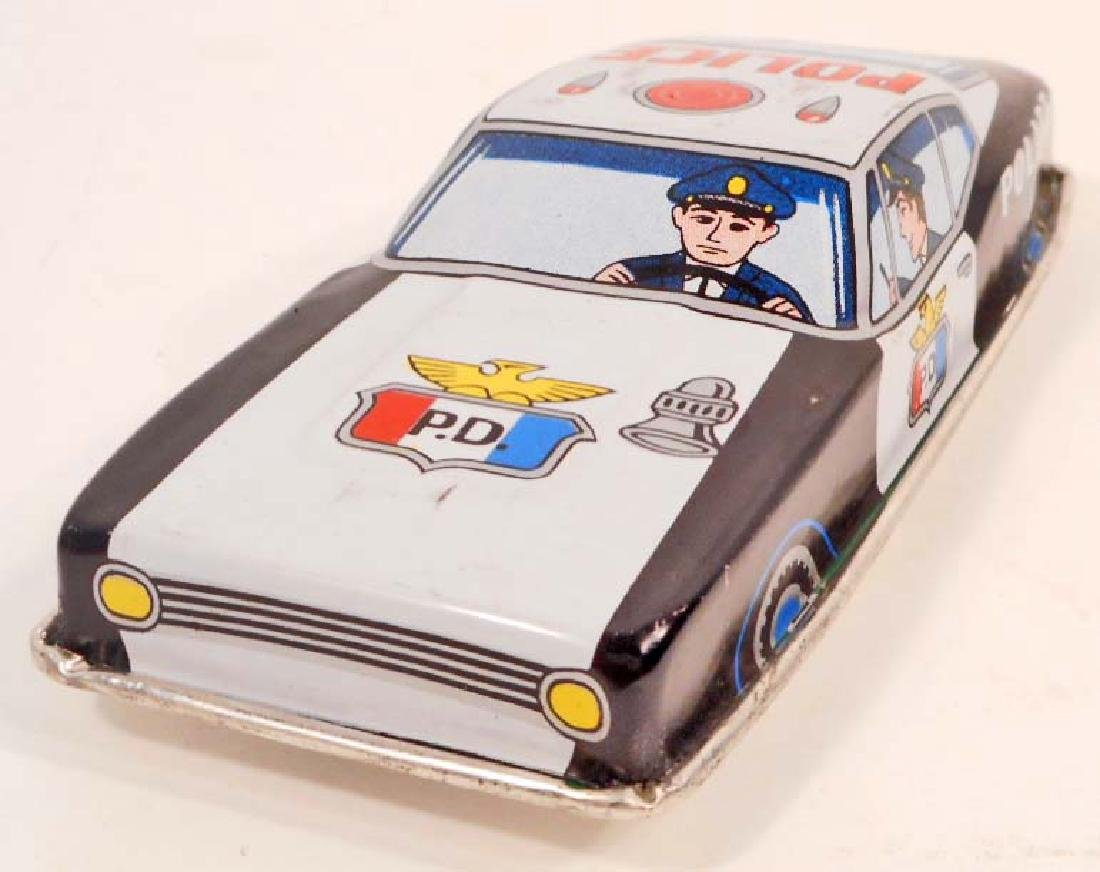 VINTAGE JAPAN TIN LITHO FRICTION TOY POLICE CAR