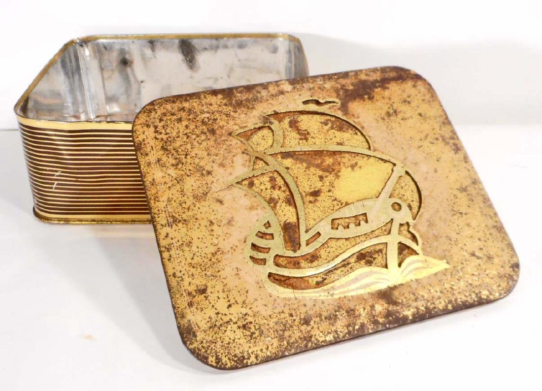 VINTAGE WESTERN GERMANY METAL TIN W/ CUT OUT SAILING