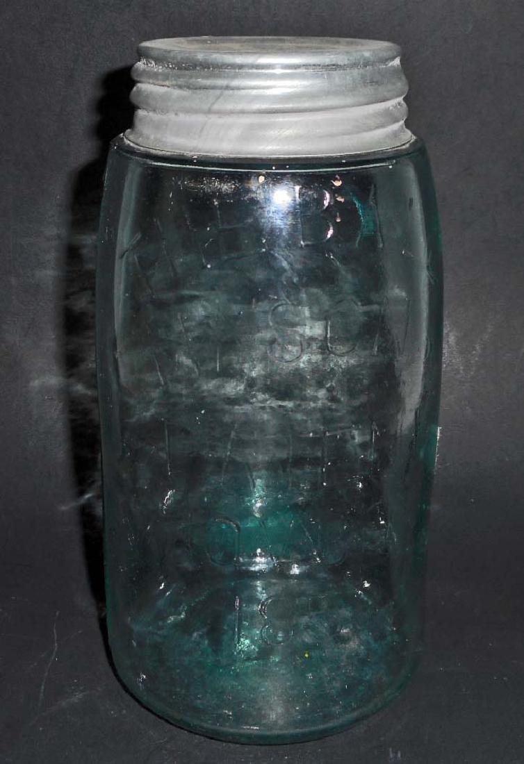 ANTIQUE 1858 BLUE GLASS MASON JAR MARKED 223 ON BOTTOM