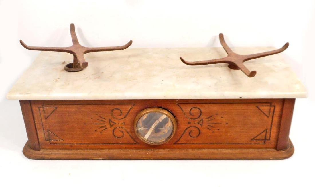ANTIQUE WOOD AND MARBLE APOTHECARY PHARMACY SCALE