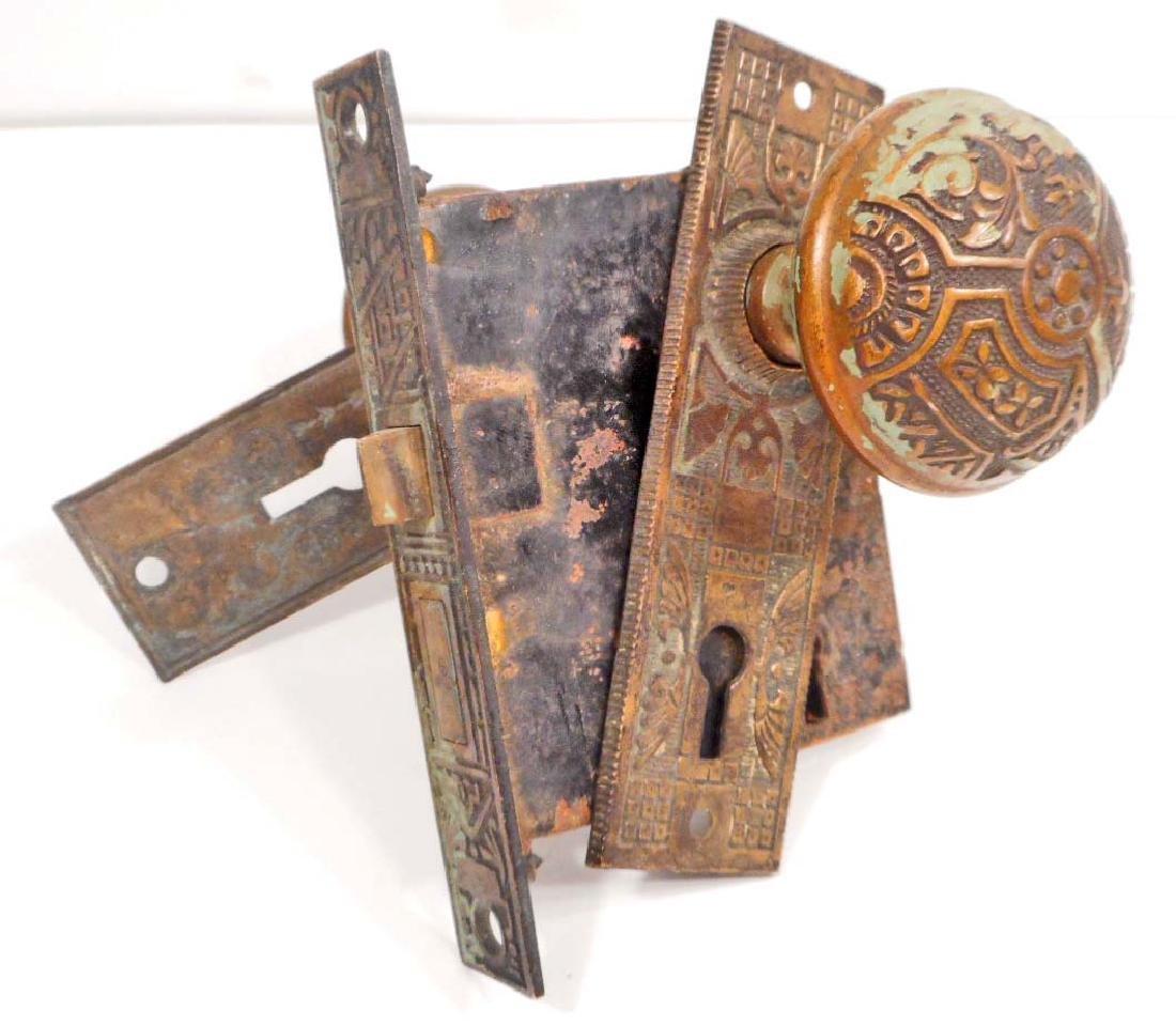 ANTIQUE ORNATE DOORKNOBS AND LOCK SET