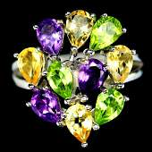 STERLING SILVER AMETHYST, CITRINE & PERIDOT RING - SIZE