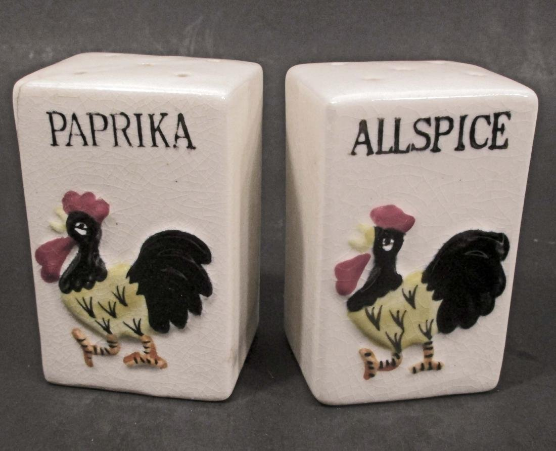 LOT OF 2 VINTAGE KITCHEN SPICE CONTAINERS - ROOSTER