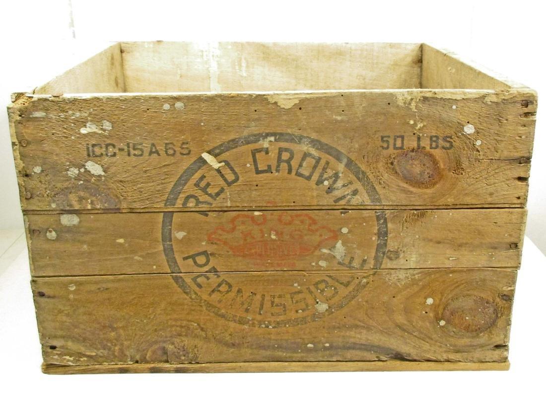 VINTAGE WOODEN RED CROWN ADVERTISING CRATE