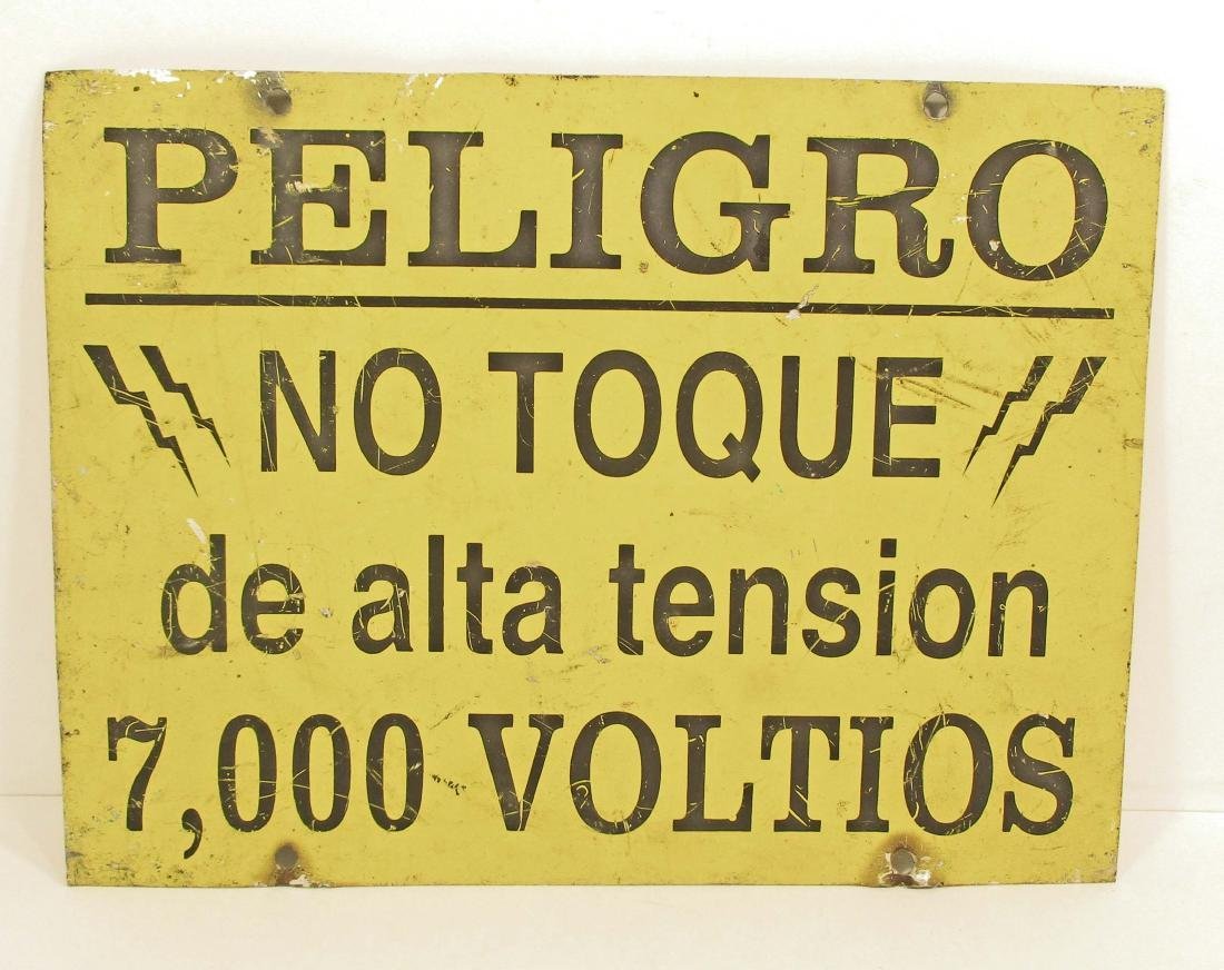 VINTAGE PELIGRO DOUBLE SIDED METAL SIGN