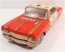 VINTAGE JAPANESE TIN LITHO FRICTION FIRE CHIEF TOY CAR
