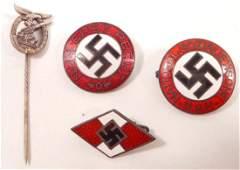 LOT OF 3 GERMAN NAZI ENAMELED PARTY LAPEL BADGES