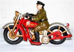 CAST IRON RED PATROL MOTORCYCLE W/ RIDER
