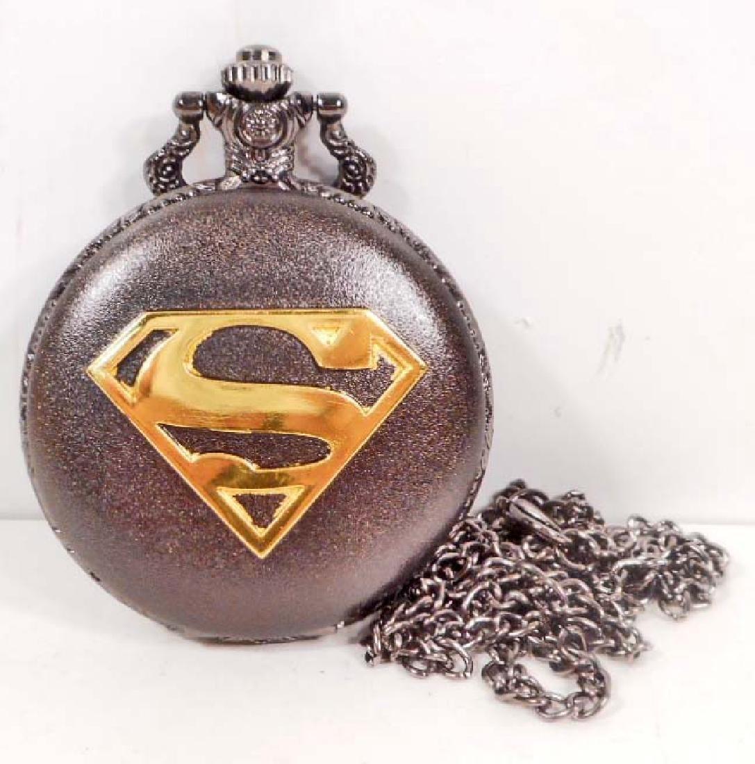 SUPERMAN BLACK & GOLD LOGO POCKET WATCH W/ CHAIN
