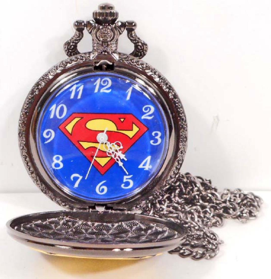 SUPERMAN BLACK & GOLD LOGO POCKET WATCH W/ CHAIN - 2