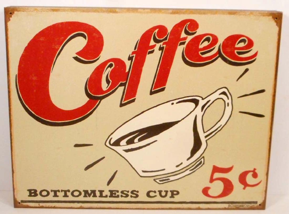 COFFEE 5 CENTS METAL ADVERTISING SIGN - 12.5X16
