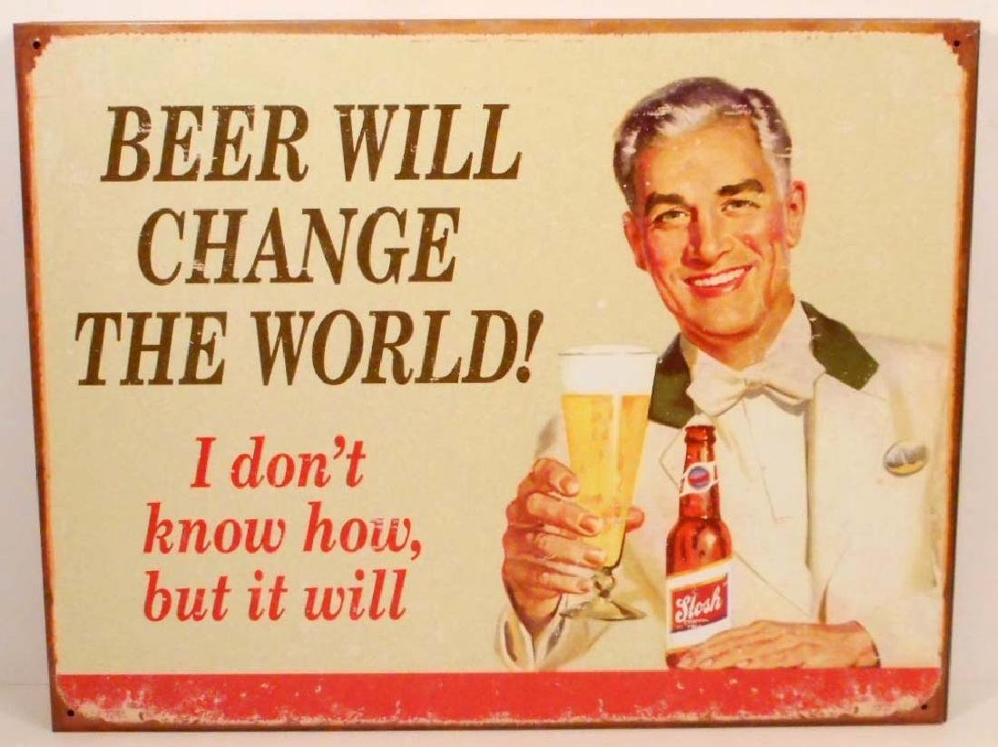 BEER WILL CHANGE THE WORLD FUNNY METAL ADVERTISING SIGN