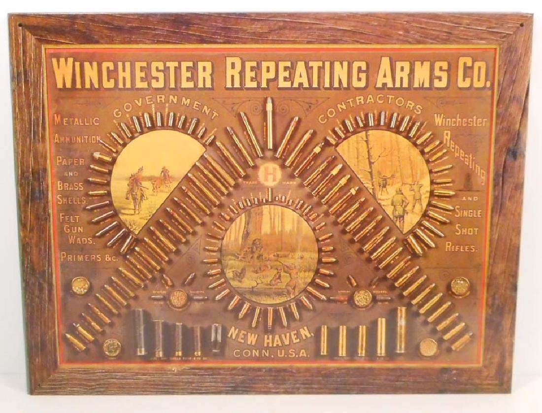 WINCHESTER REPEATING ARMS CO. AMMO METAL ADVERTISING